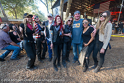 The Iron Lillies stop at the Broken Spoke Saloon while on the Hot Leathers ride during the Daytona Bike Week 75th Anniversary event. FL, USA. Tuesday March 8, 2016.  Photography ©2016 Michael Lichter.