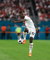 March 23, 2018 - Miami Gardens, Florida, USA - Peru defender Luis Advincula (17) in action during a FIFA World Cup 2018 preparation match between the Peru National Soccer Team and the Croatia National Soccer Team at the Hard Rock Stadium in Miami Gardens, Florida. (Credit Image: © Mario Houben via ZUMA Wire)
