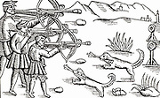 Shooting crossbows at the butts.  At one time archery practice was compulsory for adult males, serving the dual purpose of providing defenders in the event of the siege of a town or city, as well a reservoir of skilled archers during time of war. Woodcut.