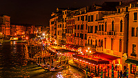 Nighttime overview of the Grand Canal, Venice, Italy.