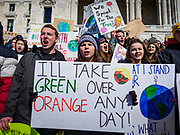 "15 MARCH 2019 - ST. PAUL, MINNESOTA, USA: Minnesota high school students gather on the steps of the state capitol during the MN Youth for Climate Justice ""Climate Strike"" at the Minnesota State Capitol in St. Paul, MN. Thousands of high school students braved below freezing temperatures and biting winds to demand action on climate change. The Minnesota Climate Strike was inspired by the strike by Greta Thunberg, a Swedish high school student, who started a climate strike at her school in August 2018.       PHOTO BY JACK KURTZ"
