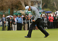 21 Feb 15 James Hahn is overwhelmed as he watches his winning putt drop on 14 in sudden death after Sunday's Final Round of The Northern Trust Open at The Riviera Country Club in Pacific Palisades,  California.(photo credit : kenneth e. dennis/kendennisphoto.com)