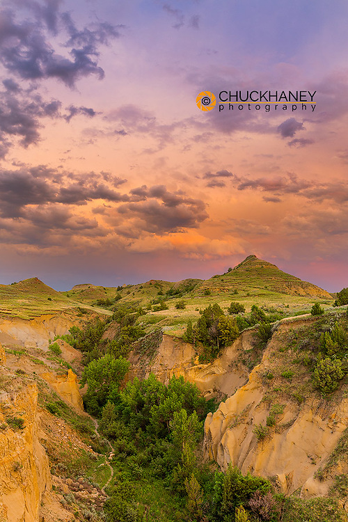 Stormy light at Wind Canyon in Theodore Roosevelt National Park, North Dakota, USA