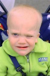 Portrait of baby boy blinking,