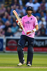 Stephen Eskinazi of Middlesex celebrates scoring his half century <br /> <br /> Photographer Craig Thomas/Replay Images<br /> <br /> Vitality Blast T20 - Round 4 - Glamorgan v Middlesex - Friday 26th July 2019 - Sophia Gardens - Cardiff<br /> <br /> World Copyright © Replay Images . All rights reserved. info@replayimages.co.uk - http://replayimages.co.uk
