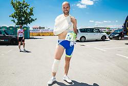 Injured Tomaz Grm, president of Slovenia Cycling Federation in finish area of 36th Marathon Franja BTC City 2017, on June 11, 2016 in Dolgi most, Ljubljana, Slovenia. Photo by Vid Ponikvar / Sportida