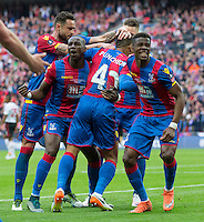GOAL CELEBRATION - Crystal Palace players celebrates the opening goal <br /> <br /> Photographer Craig Mercer/CameraSport<br /> <br /> Football - The Emirates FA Cup Final - Crystal Palace Manchester United - Saturday 21st May 2016 - Wembley - London<br /> <br /> © CameraSport - 43 Linden Ave. Countesthorpe. Leicester. England. LE8 5PG - Tel: +44 (0) 116 277 4147 - admin@camerasport.com - www.camerasport.com
