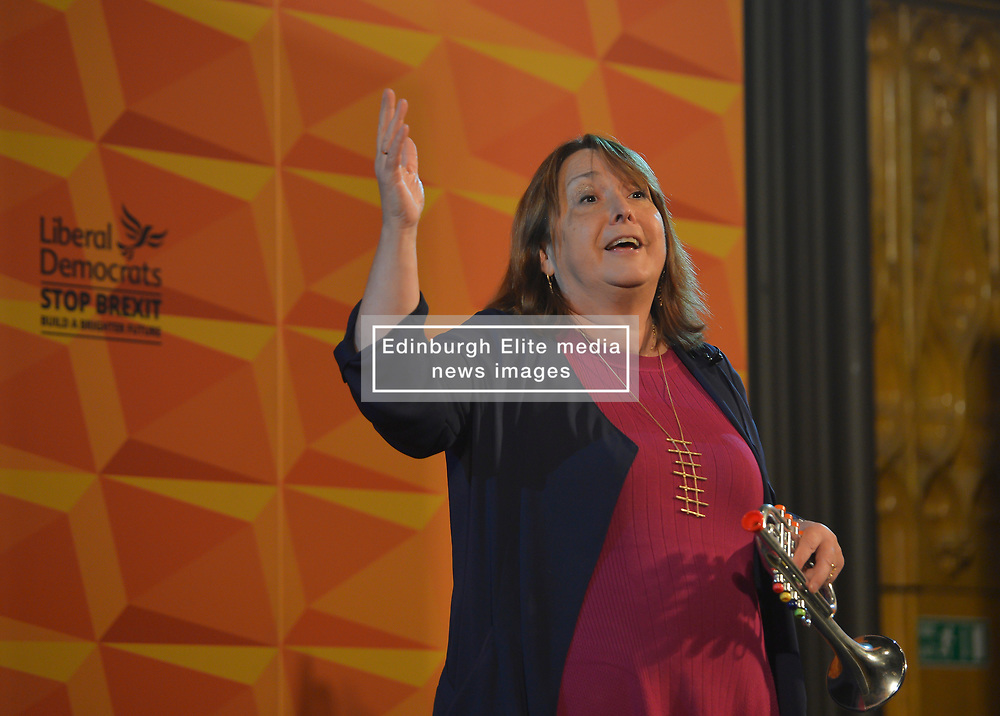 Pictured: Christine Jardine on stage at the rally.<br /> <br /> Liberal Democrat leader Jo Swinson held a campaign rally in central Edinburgh, where she talked about the party's opposition to independence.<br /> <br /> © Dave Johnston / EEm
