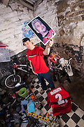 Steve Peat with a picture of his hero Jeremy McGrath. Sheffield, 2008