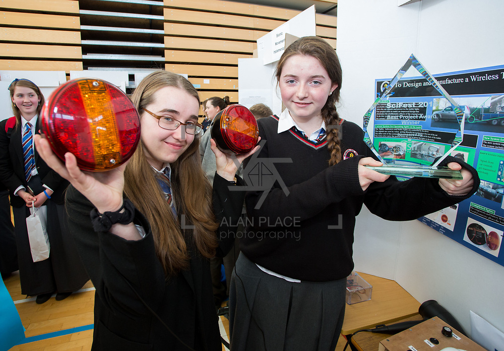 27.04.2016.          <br />  Kalin Foy and Ciara Coyle win SciFest@LIT<br /> Kalin Foy and Ciara Coyle from Colaiste Chiarain Croom to represent Limerick at Ireland's largest science competition.<br /> <br /> Pictured areOverall winners Colaiste Chiarain Croom students, Ciara Coyles and Kalin Foy with their winning project ,To design and manufacture wireless trailer lights. <br /> <br /> Of the over 110 projects exhibited at SciFest@LIT 2016, the top prize on the day went to Kalin Foy and Ciara Coyle from Colaiste Chiarain Croom for their project, 'To design and manufacture wireless trailer lights'. The runner-up prize went to a team from John the Baptist Community School, Hospital with their project on 'Educating the Youth of Ireland about Farm Safety'.   Picture: Alan Place