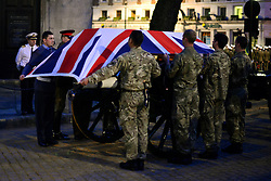 © Licensed to London News Pictures. 15/04/2013. London, UK The rehearsal coffin leaves St Clement Danes Church. A full rehearsal of the funeral of former British Conservative Prime Minster Baroness Thatcher takes place in central London. Hundreds of members of the armed forces drawn from all three services took part in the practice in the early hours of 15th April 2013. Photo credit : Stephen Simpson/LNP