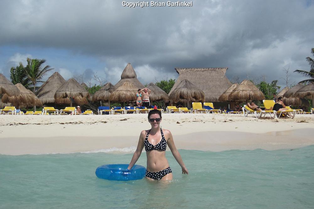 Allison in the Gulf of Mexico at the Iberostar Del Mar resort in Rivera Maya, Mexico