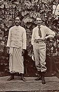Robert Louis Balfour Stevenson (1850-1894) Scottish author, born in Edinburgh.  Stevenson in Samoa with Chief Tui Malealiifano. From 'Vailima Letters' (London, 1895), correspondence from Stevenson to Sidney Colvin 1890-1894.  Photograph.