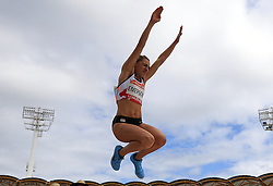 England's Niamh Emerson competes in the Women's Heptathlon Long Jump at the Carrara Stadium during day nine of the 2018 Commonwealth Games in the Gold Coast, Australia. PRESS ASSOCIATION Photo. Picture date: Friday April 13, 2018. See PA story COMMONWEALTH Athletics. Photo credit should read: Martin Rickett/PA Wire. RESTRICTIONS: Editorial use only. No commercial use. No video emulation.