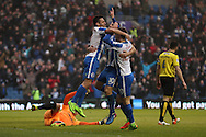 Brighton & Hove Albion centre forward Sam Baldock (9) scores a goal 2-0 and celebrates during the EFL Sky Bet Championship match between Brighton and Hove Albion and Burton Albion at the American Express Community Stadium, Brighton and Hove, England on 11 February 2017.