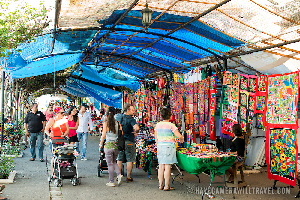 Colorful woven textiles in local styles for sale at a tourist market on the waterfront of Casco Viejo, the historic old town of Panama City, Panama.