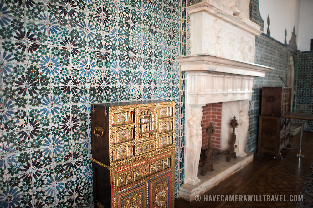 """SINTRA, Portugal - The Magpie Room (Sala das Pegas) is the only room in the palace to have retained its original name since the 15th century. It was described by King Duarte as the Chamber of State, and it was here that notables were received. Despite being restored, the ceiling has retained its original decoration, highlighting the motto of Joao I, """"por bem"""" (for good). The Palace of Sintra (Palácio Nacional de Sintra) is a mediaeval royal palace in Sintra and part of the UNESCO World Heritage Site that encompasses several sites in and around Sintra, just outside Lisbon. The palace dates to at least the early 15th century and was at its peak during the 15th and 16th centuries. It remains one of the best-preserved royal residences in Portugal."""