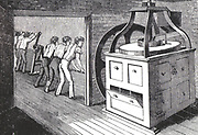 Inmates of All Saints Workhouse, Hertford, England, grinding corn in Herbert's patent mill to produce flour for use in the workhouse. Able-bodied inmates had to carry out tasks necessary for the running of the institution. Engraving, London, 1836.