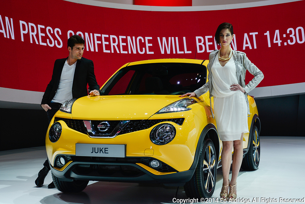 GENEVA, SWITZERLAND - MARCH 4, 2014: Nissan Juke on display during the Geneva Motor Show.