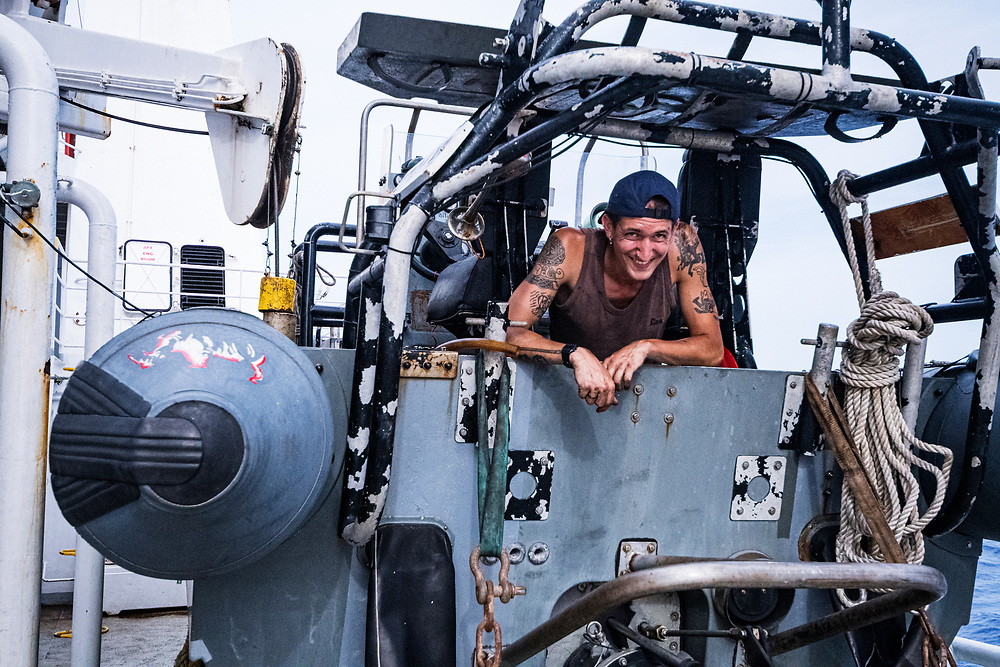 Mechanic Max Bachler works on one of the RHIBs.