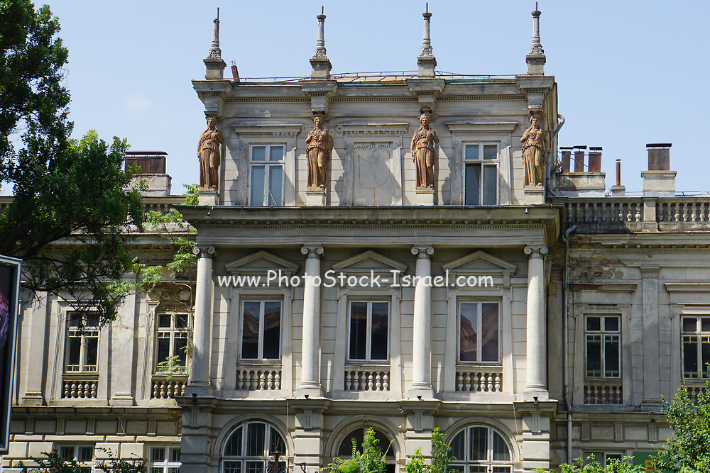 Building and street scene in Bucharest, Romania