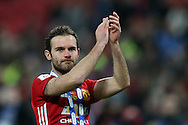 Juan Mata of Manchester Utd applauds the fans at the end of the game. EFL Cup Final 2017, Manchester Utd v Southampton at Wembley Stadium in London on Sunday 26th February 2017. pic by Andrew Orchard, Andrew Orchard sports photography.
