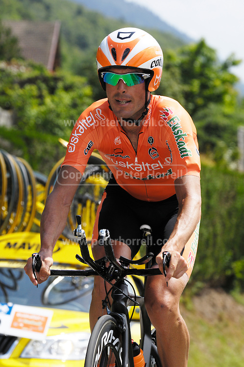 France, Talloire, 23 July 2009: Gorka Verdugo Marcotegui (Spa) Euskaltel - Euskadi on the Côte de Bluffy during Stage 18 - a 40.5 km Annecy to Annecy individual time trial. Photo by Peter Horrell / http://peterhorrell.com .