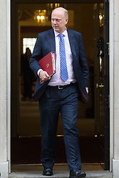 Downing Street, London, October 18th 2016. Transport Secretary Chris Grayling leaves 10 Downing Street in London following the weekly cabinet meeting.