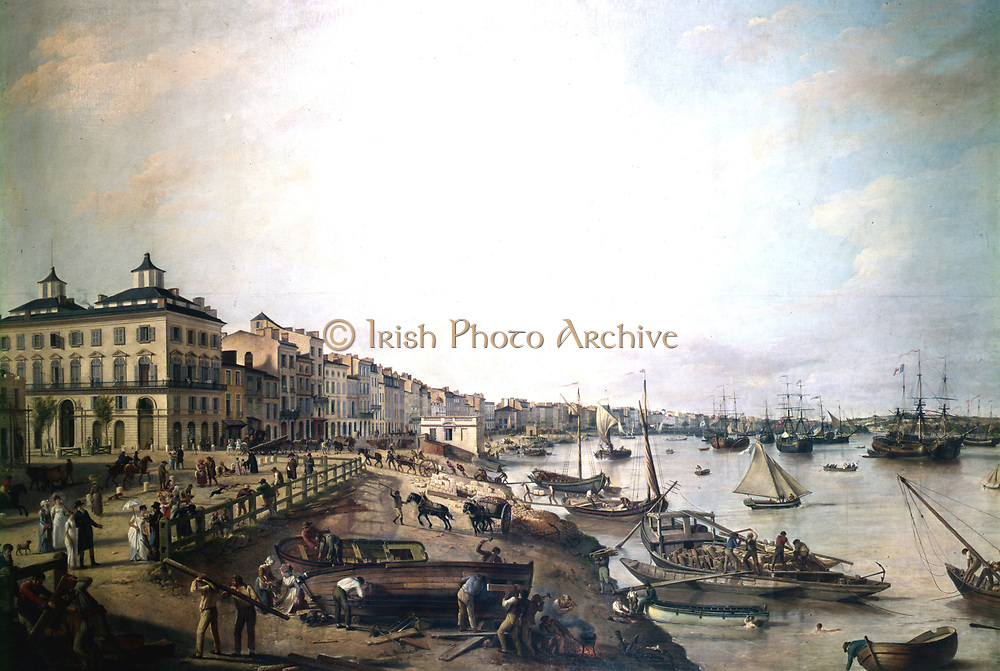 The Port of Bordeaux in 1804. Merchant vessels are at anchor, being loaded and unloaded by smaller vessels. Among the cargoes being landed are timber and stone.   In the foreground boats are being repaired.  On the promenade spectators watch the proceedings.Artist Pierre Lacour the Elder (1745-1814). Oil on canvas.
