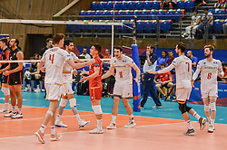 June 17, 2018 - Varna, Bulgaria - The national team of France celebrates after win a point against Canada, during Mens Volleyball Nations League, VNL, match between France and Canada at Palace of Culture and Sport in Varna, Bulgaria on June 17, 2018  (Credit Image: © Hristo Rusev/NurPhoto via ZUMA Press)