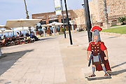 Caricature of a Roman soldier at the ruins of Caesarea, on the Mediterranea sea, Israel