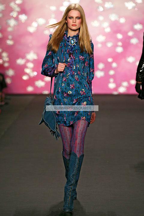 Toni Garrn walks the runway wearing Anna Sui Fall 2009 collection