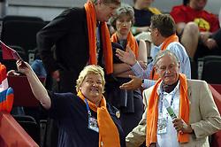 30-05-2004 VOLLEYBAL: OLYMPISCH KWALIFICATIE TOURNOOI NEDERLAND - SPANJE: MADRID<br /> Nederland verslaat Spanje met 3-0 en plaatst zich voor de Olympische Spelen in Athene - Hans Nieukerke en Erica Terpstra<br /> Copyrights 2004-www.fotohoogendoorn.nl