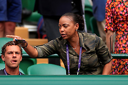 Candi Gauff, mother of Cori Gauff who takes on Venus Williams on court one on day one of the Wimbledon Championships at the All England Lawn Tennis and Croquet Club, Wimbledon.