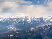 Aerial view of Denali (Mt. McKinley), the Tokositna Glacier (lower left), the Ruth Glacier (lower right) and the Alaska Range on a sightseeing flight from Talkeetna, Alaska.