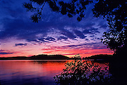 Sunset through the trees on large lake in Quebec, Canada
