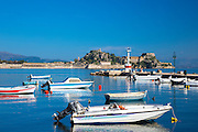 Speed boats at moorings in sea harbour in Kerkyra, Corfu, Ionian Islands, Greece