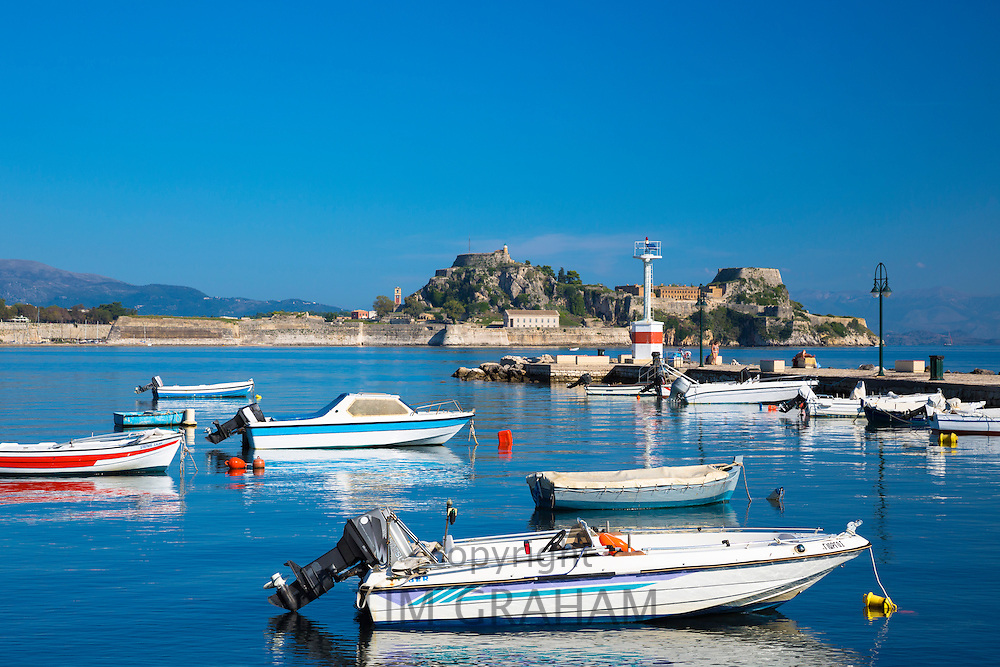 Speed boats at moorings in sea harbour in Kerkyra, Corfu, Ionian Islands, Greece