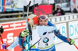 Kaisa Makarainen (FIN) and Gabriela Soukalova (CZE) celebrate at finish line  during Women 12.5 km Mass Start at day 4 of IBU Biathlon World Cup 2015/16 Pokljuka, on December 20, 2015 in Rudno polje, Pokljuka, Slovenia. Photo by Vid Ponikvar / Sportida