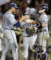TCU's Ryan Burnett (17) and catcher Evan Skoug (9) react after a 8-2 win over Texas A&M in a NCAA college baseball super regional tournament game, Friday, June 10, 2016, in College Station, Texas. (AP Photo/Sam Craft)