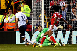 Jordan Smith of Nottingham Forest saves a shot from Jed Wallace of Millwall - Mandatory by-line: Robbie Stephenson/JMP - 04/08/2017 - FOOTBALL - The City Ground - Nottingham, England - Nottingham Forest v Millwall - Sky Bet Championship