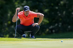 May 25, 2018 - Forth Worth, TX, U.S. - FORT WORTH, TX - MAY 25:  Brooks Koepka of the United States lines up his putt on #5 during the second round of the Fort Worth Invitational on May 25, 2018 at Colonial Country Club in Fort Worth, TX. (Photo by Andrew Dieb/Icon Sportswire) (Credit Image: © Andrew Dieb/Icon SMI via ZUMA Press)