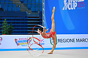 Filanovsky Victoria during qualifying at ribbon in Pesaro World Cup 11 April 2015.<br /> Victoria was born in St. Petersburg in Russia 23 February 1995. In 2008 she joined the Israeli national team of rhythmic gymnastics.