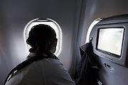 looking out of the window of an airplane