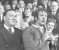 1971.British Lions Tour of NZ-4th Test Eden Park.Lions captain John Dawes speaking from grandstand at finish of last testManager Doug Smith,left.Drawn 14 all.Bush Pic Copyright.10