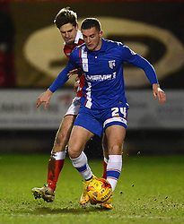 Crewe Alexandra's Jon Guthrie competes with Gillingham's Ben Dickenson - Photo mandatory by-line: Richard Martin-Roberts - Mobile: 07966 386802 - 10/01/2015 - SPORT - Football - Crewe - Alexandra Stadium - Crewe Alexandra v Gillingham - Sky Bet League One