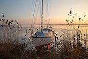 Yacht at moorings winter sunset, River Deben, Ramsholt, Suffolk, England, UK