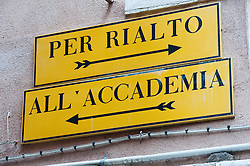 Direction signs to tourist sights in Venice Italy