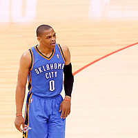 11 May 2014: Oklahoma City Thunder guard Russell Westbrook (0) is seen during the Los Angeles Clippers 101-99 victory over the Oklahoma City Thunder, during Game Four of the Western Conference Semifinals of the NBA Playoffs, at the Staples Center, Los Angeles, California, USA.