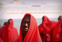 April 26, 2018 - Malaga, Spain - 80 people were rescued in the Alboran Sea of sub-Saharan origin, 70 men, 6 women and 4 children who were sailing in a raft. Immigrants, all of them of Sub-Saharan origin, have been transferred to the Port of Malaga. (Credit Image: © Lorenzo Carnero via ZUMA Wire)